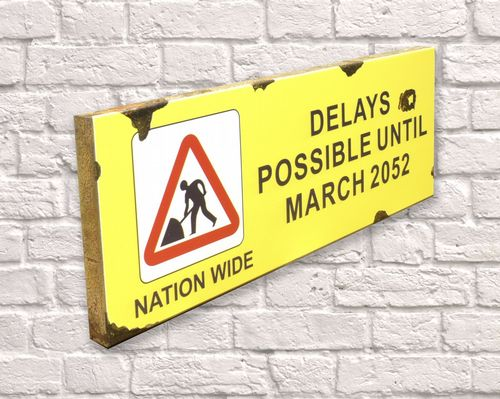 Delays Possible Until 2052 Rusty Metal Sign 20cm x 56cm